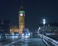 Westminster Bridge with Big Ben and Houses of Parliament at night Stock Photos