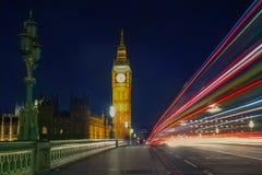 Westminster bridge and Big Ben. Lights on Westminster Bridge and Big Ben Royalty Free Stock Photos