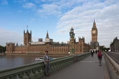 Westminster bridge, Big Ben in the morning Royalty Free Stock Images