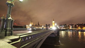 Westminster Bridge and Big Ben by night. LONDON, ENGLAND stock video