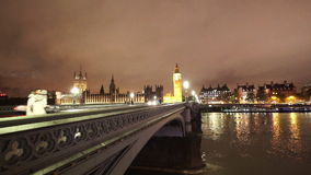 Westminster Bridge and Big Ben by night. LONDON, ENGLAND stock footage