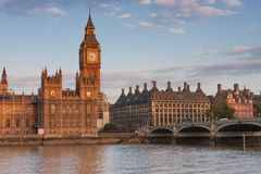 Westminster bridge, Big Ben in the morning Royalty Free Stock Image