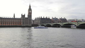 Westminster Bridge. And Big Ben Tower in London stock video footage