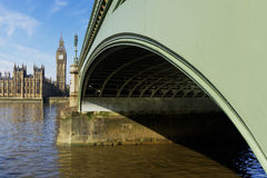 Westminster Bridge and Elizabeth Tower in London Stock Image