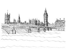 Westminster Bridge. Hand made pencil illustration of Westminster Bridge with the Houses of Parliament and Big Ben in London UK Stock Photos