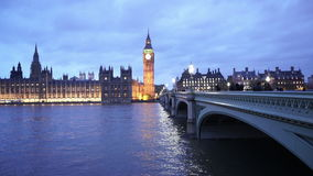 Westminster Bridge and Houses of Parliament with Big Ben in the evening stock video footage