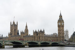 Westminster Bridge and houses of Parliament Stock Photos