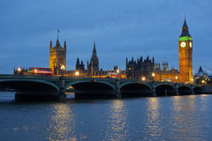 Westminster Bridge Houses of Parliament at dusk. Westminster Bridge and the Houses of Parliament at dusk Royalty Free Stock Image