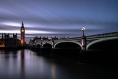 Westminster Bridge and the Houses of Parliament at dusk with Big Ben or Elizabeth Tower lit up. Royalty Free Stock Images