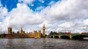Westminster bridge and Houses of Parliament. Panoramic view of Westminster bridge and Houses of Parliament, London, England Stock Images