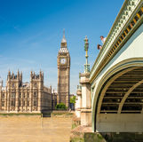 Westminster Bridge and Houses of Parliament on a sunny day - Lon. Don Royalty Free Stock Photography