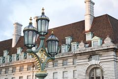 Westminster Bridge Lamppost; London Royalty Free Stock Photo