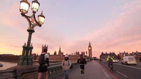 Westminster Bridge in London stock footage