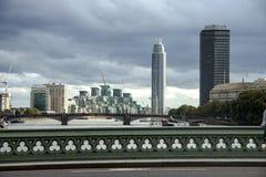 Westminster Bridge and skyline city. London, England, UK. stock photo