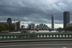 Westminster Bridge and skyline city. London, England, UK. royalty free stock photos