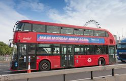 Public traffic, red double decker bus on Westminster bridge Royalty Free Stock Photos