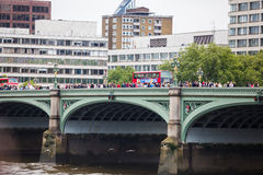 Westminster Bridge. Many people walk across the bridge as it is a huge tourist attraction Royalty Free Stock Photo