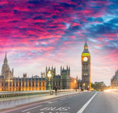 Westminster Bridge at summer sunset, London - UK Stock Image