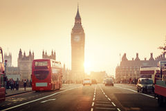 Westminster Bridge at sunset, London Royalty Free Stock Photography