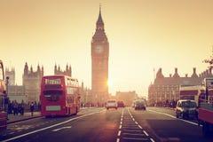 Westminster Bridge at sunset, London Royalty Free Stock Image