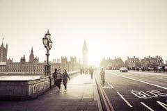 Westminster Bridge at sunset, London Stock Photography