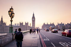 Westminster Bridge at sunset, London Stock Photos