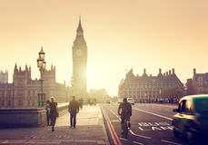 Westminster Bridge at sunset, London, UK Stock Photos