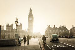 Westminster Bridge at sunset, London, UK Royalty Free Stock Photography