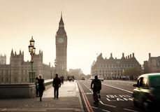 Westminster Bridge at sunset, London, UK Royalty Free Stock Images