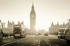 Westminster Bridge at sunset, London, UK Royalty Free Stock Images