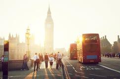 Westminster Bridge at sunset, London, UK Stock Photos