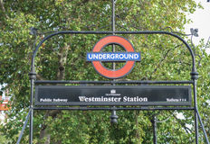 Westminster Bridge tube station Royalty Free Stock Images