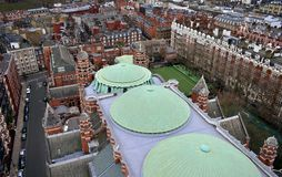Westminster Cathedral from tower lookout. Green domes and towers. London, United Kingdom. stock photos