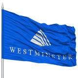 Westminster City Flag on Flagpole, USA. Westminster City Flag on Flagpole, Colorado State, Flying in the Wind, Isolated on White Background Stock Photos