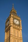 Westminster clock tower. Big Ben home, Westminster Clock Tower, in evening sunlight stock photos