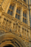 Westminster: detail of parliament tower, London. Early evening view of detail of the Houses of Parliament in London Stock Image