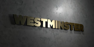 Westminster - Gold text on black background - 3D rendered royalty free stock picture. This image can be used for an online website banner ad or a print Royalty Free Stock Photo