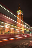 Westminster House of Parliament with cars light strips at night Royalty Free Stock Images