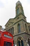 Westminster-Kapelle und Telefonzelle, London, England, Großbritannien Stockfotografie