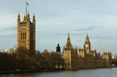 Westminster London. A view of Westminster in London with Big Ben and the Themes river stock image