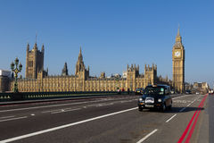 Westminster and London Taxi Royalty Free Stock Photo