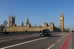 Westminster and London Taxi Stock Image