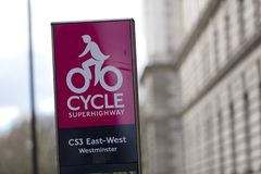 Westminster, London, UK, February 7th 2019, Sign for the Cycle Superhighway royalty free stock image