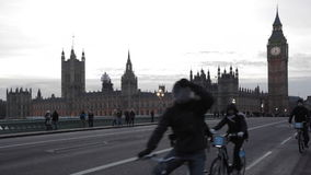 Westminster London. LONDON, UNITED KINGDOM - JANUARY 25, 2013: Tourists at Westminster Bridge With Big Ben and Parliament in London, United Kingdom stock video
