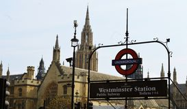 Westminster metro station in London. Famous metro station, Westminster station in central London Royalty Free Stock Images