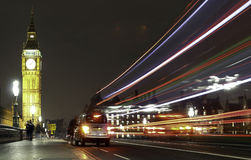 Westminster Night Taxi. A taxi stops on Westminster Bridge, near Big Ben, London, England UK Stock Photography