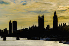 Westminster och Big Ben horisontkontur Arkivbild