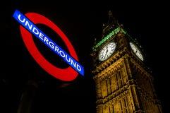 Westminster ondergronds, Big Ben Royalty-vrije Stock Afbeelding
