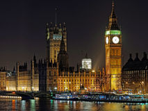 Westminster palace and Big Ben at night, London. December 2013 Royalty Free Stock Photography
