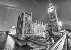 Westminster Palace and Big Ben at night from Westminster Bridge. London Stock Photos